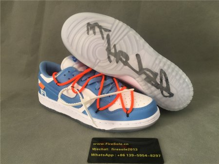 Authentic OFF WHITE x Nike Dunk Low Royal Blue