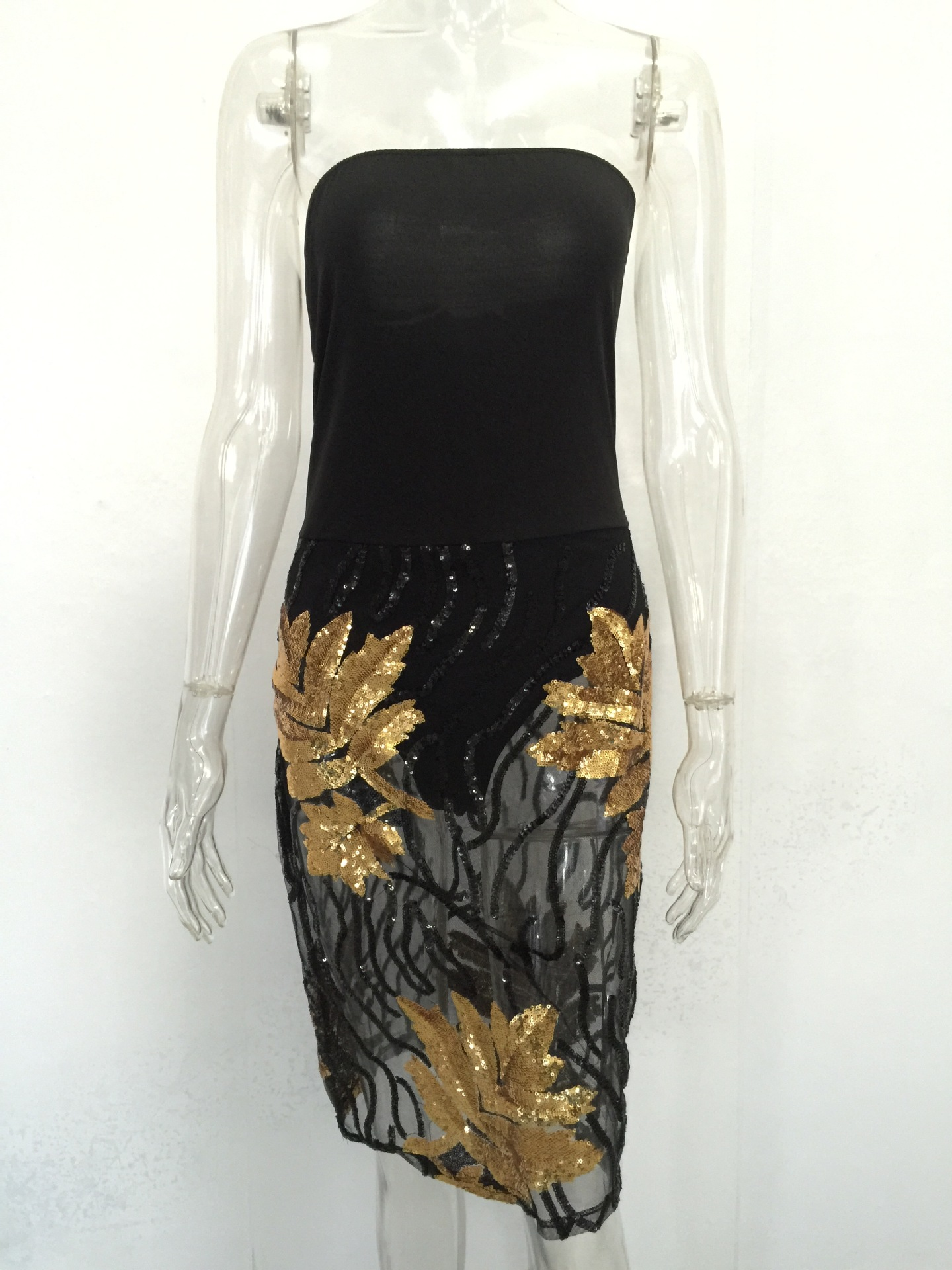 b7548211415a1 US$ 7.03 - Gold and Black Sequins Tube Dress 23375-1 - www.global-lover.com
