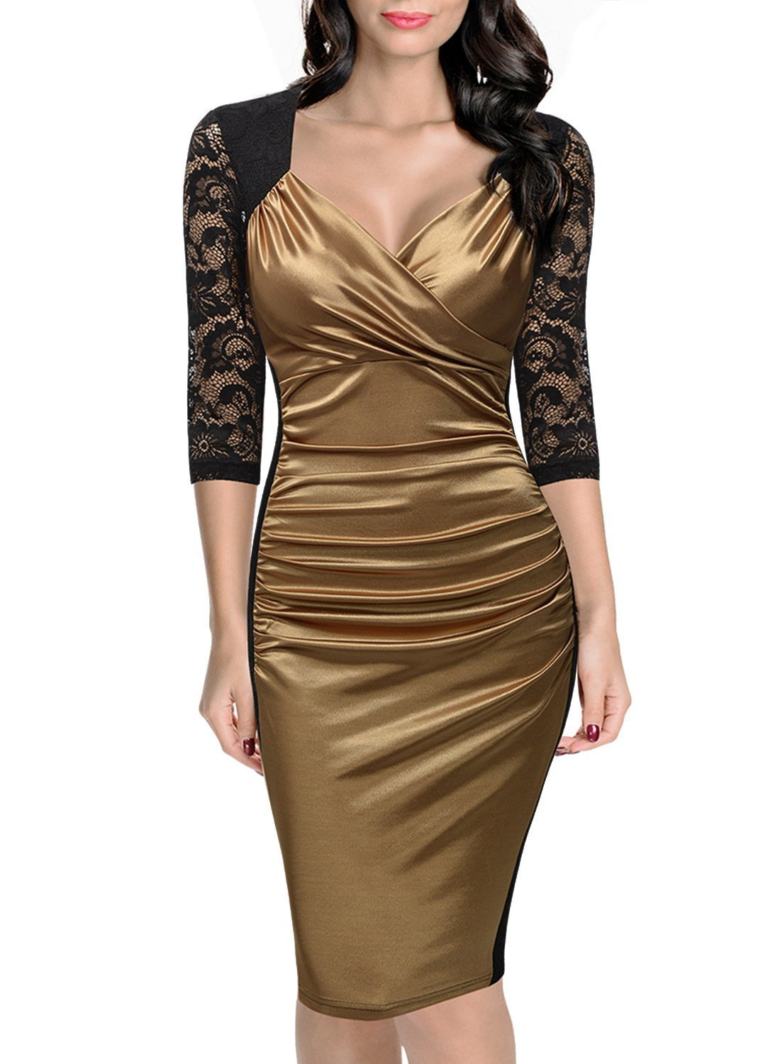 b36e9f56dc45 US$ 11.3 - Elegant V-Neck Ruched Midi Dress with Lace Sleeves 22951-2 -  www.global-lover.com