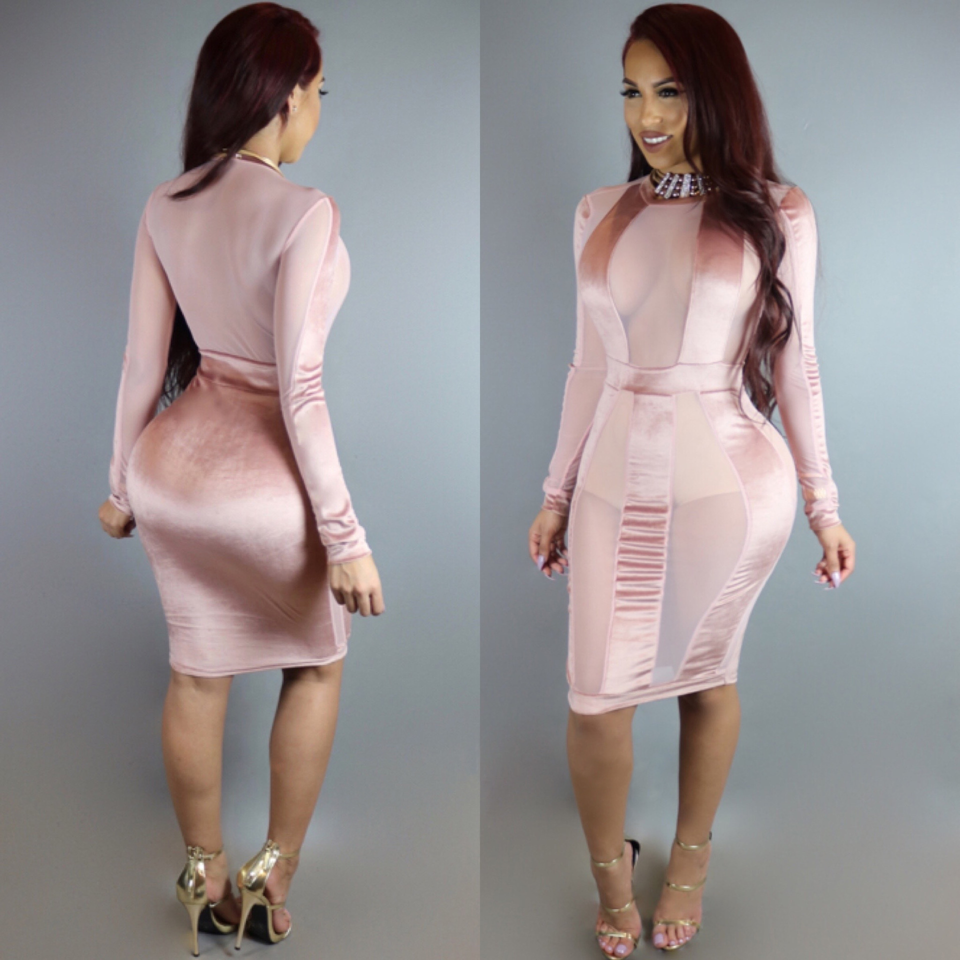 0a25a969fda2 US  6.6 - Sexy Pink Mesh Bodycon Dress with Sleeves 22508-3 - www ...