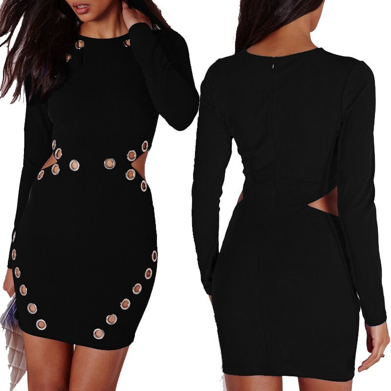 5a9ec3b8fd80 Black Metal Detail Cutout Long Sleeve Bodycon Dress 19527 Item NO: 19527
