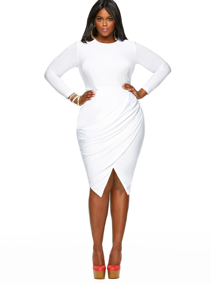 Pure White Elegant Asymmetric Ruffles Plus Size Dress 18842-2
