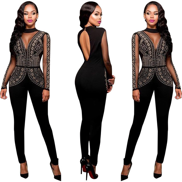 2812573c3d6c Plus Size Sexy Black Beaded Long Jumpsuit with Keyhole Back 22109-1 Item  NO: QW_2142-1