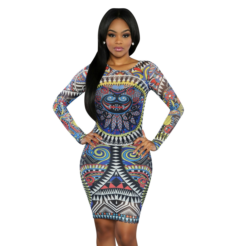 f8bb0524f90 US  6.82 - African Print Long Sleeve Bodycon Dress 20248-1 - www.global -lover.com