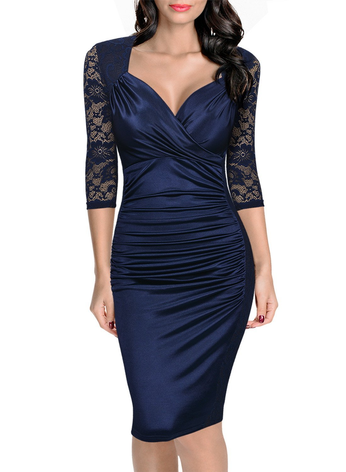 2487f49ddcfc US$ 11.3 - Elegant V-Neck Ruched Midi Dress with Lace Sleeves 22951-5 -  www.global-lover.com