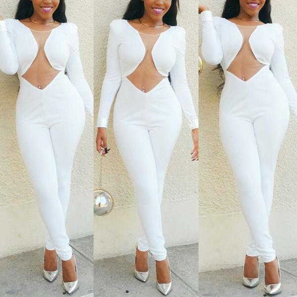 570fe7e4b09 Pure White long Sleeve Cuttout Waist Jumpsuilts 20707 Item NO  KA SJ0125