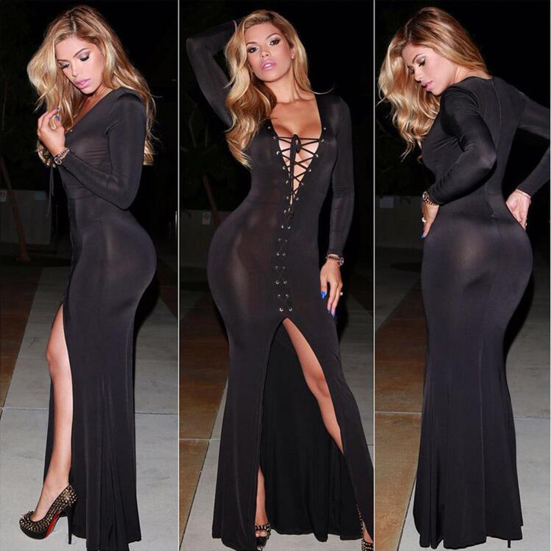 25679b4c2474 US$ 8.55 - Sexy Black Lace-up Long Sleeve Evening Dress 19713 -  www.global-lover.com