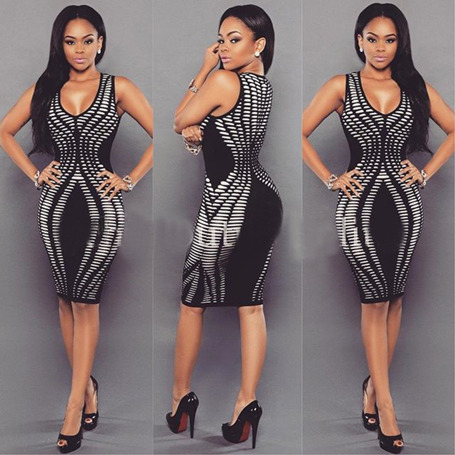 8c8ff3562c4b7 Sleeveless Plung Black and White Bodycon Dress 21128-1