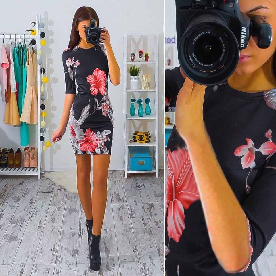 Us 5 fashion hibiscus flower print half sleeve black pencil dress fashion hibiscus flower print half sleeve black pencil dress 24273 2 item no 24273 2 izmirmasajfo