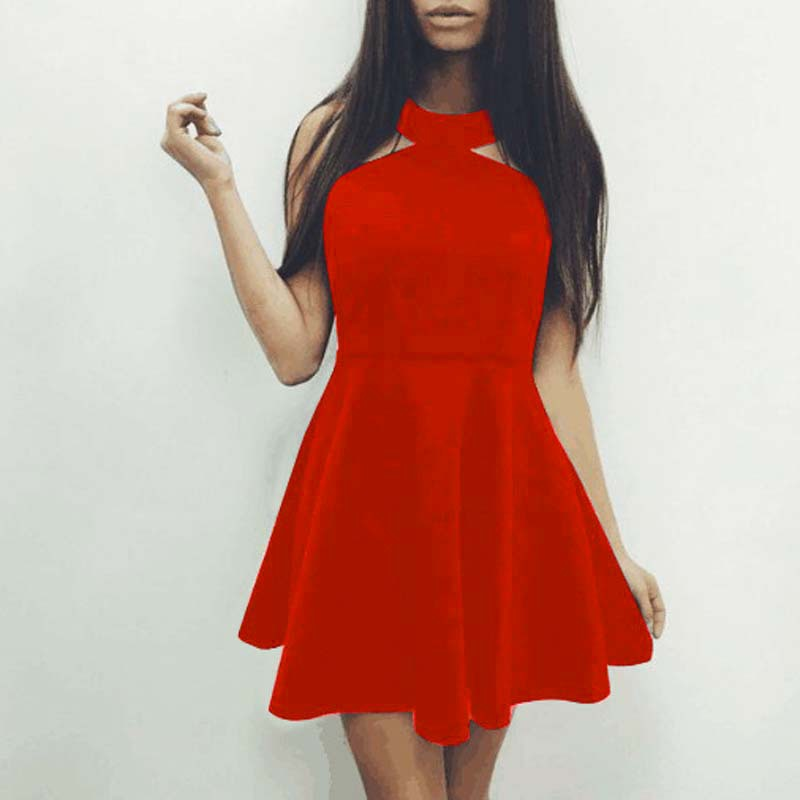 US  4.5 - Womens Red Sleeveless Choker Neck Cut Out Mini Skater Dress  24379-3 - www.global-lover.com 535a0428e