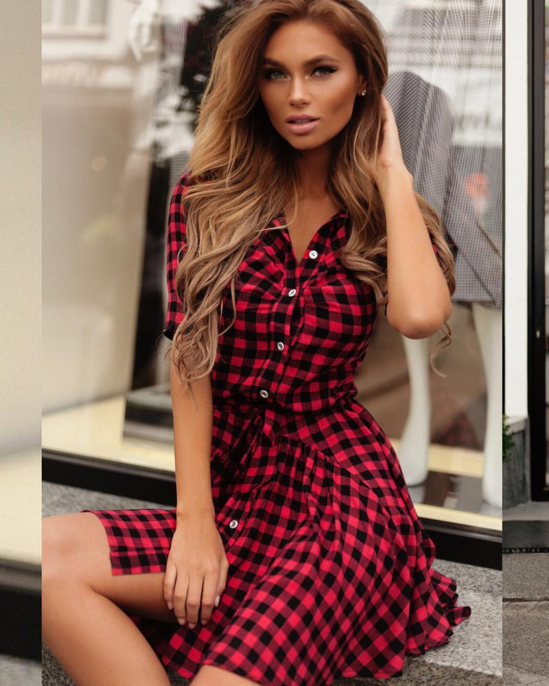 a1a7b91ba9d0d US  8.1 - Red and Black Check Short Sleeve Causal Dress 24306 -  www.global-lover.com