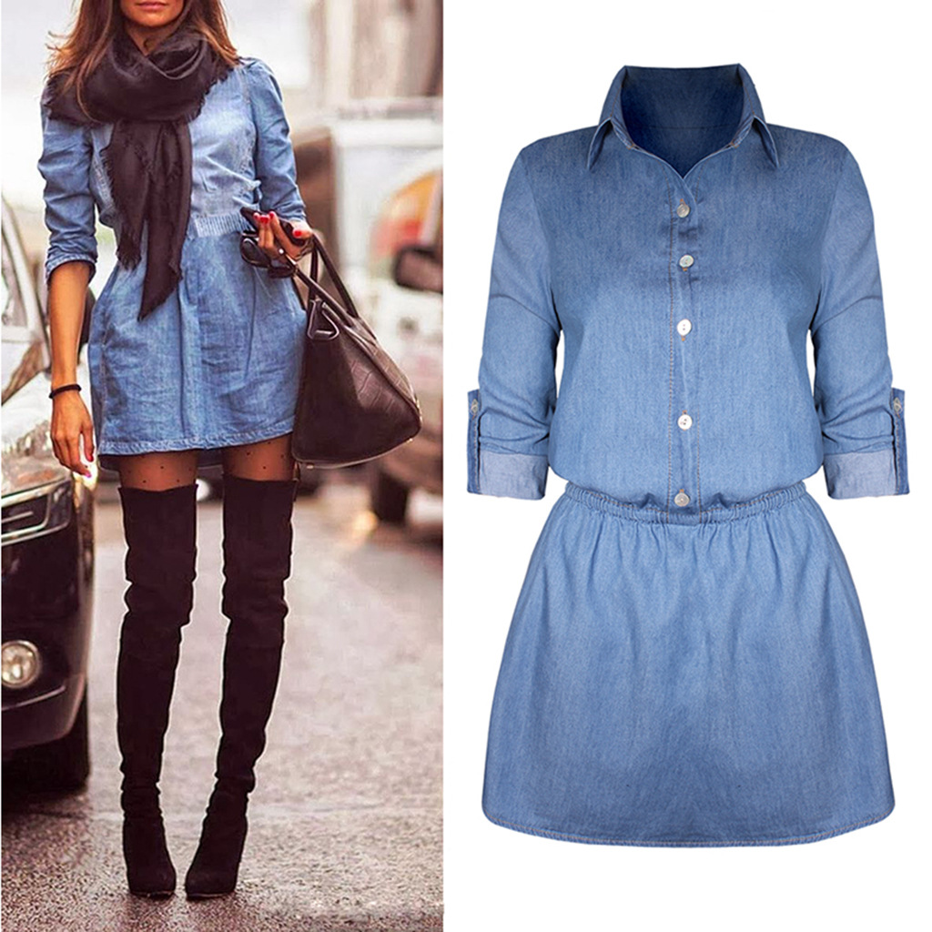 Vintage Denim Long Sleeve Casual Mini Dress 24257 Item No Yi St1640