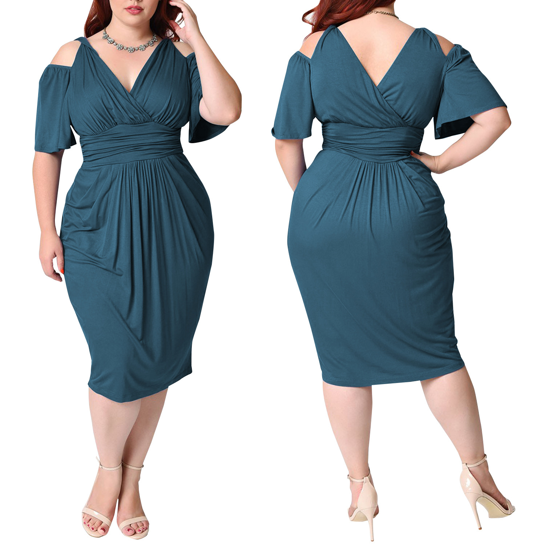 Lake Blue Short Cutout V Neck High Waist Plus Size Club Dress 24358-3