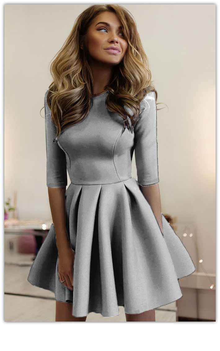 726b94016c60 US  5.8 - Plain Color Pleated Skater Dress with Mid-Sleeves 23770-4 -  www.global-lover.com
