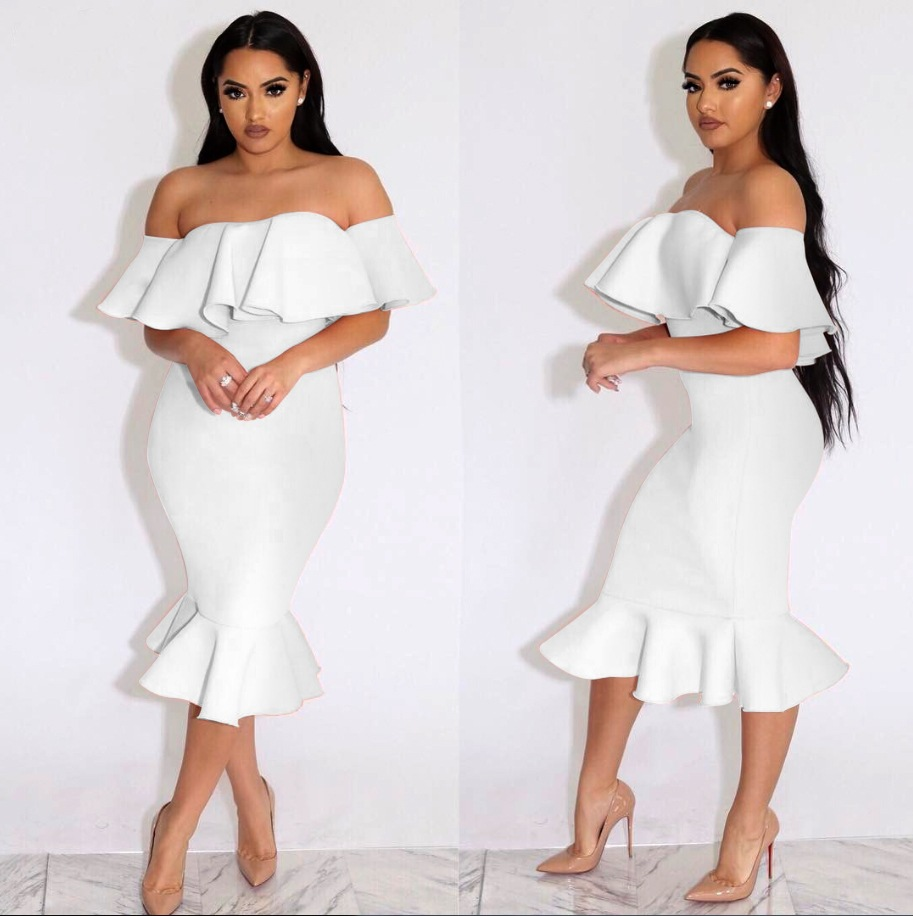 a2e776b777d8 US  6.6 - Sweet White Off-shoulder Flounced Bodycon Dress 24104-2 ...