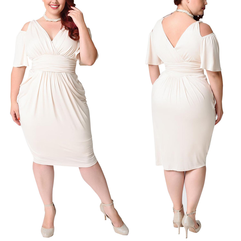 Pure White Short Cutout V Neck High Waist Plus Size Club Dress 24358-4