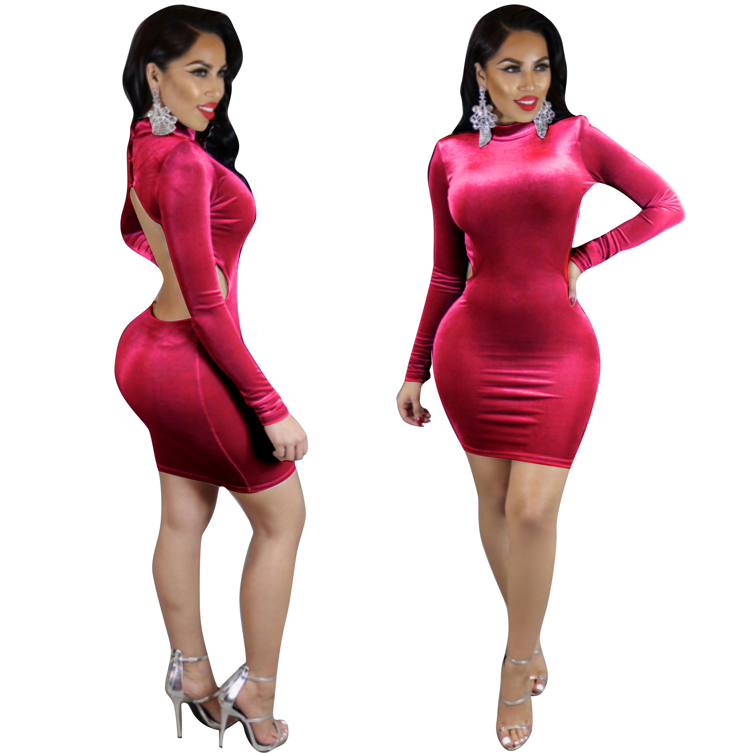 fab1c807aec5 US$ 5.11 - Watermelon Red High Neck Backless Long Sleeve Bodycon Dress  24558-5 - www.global-lover.com