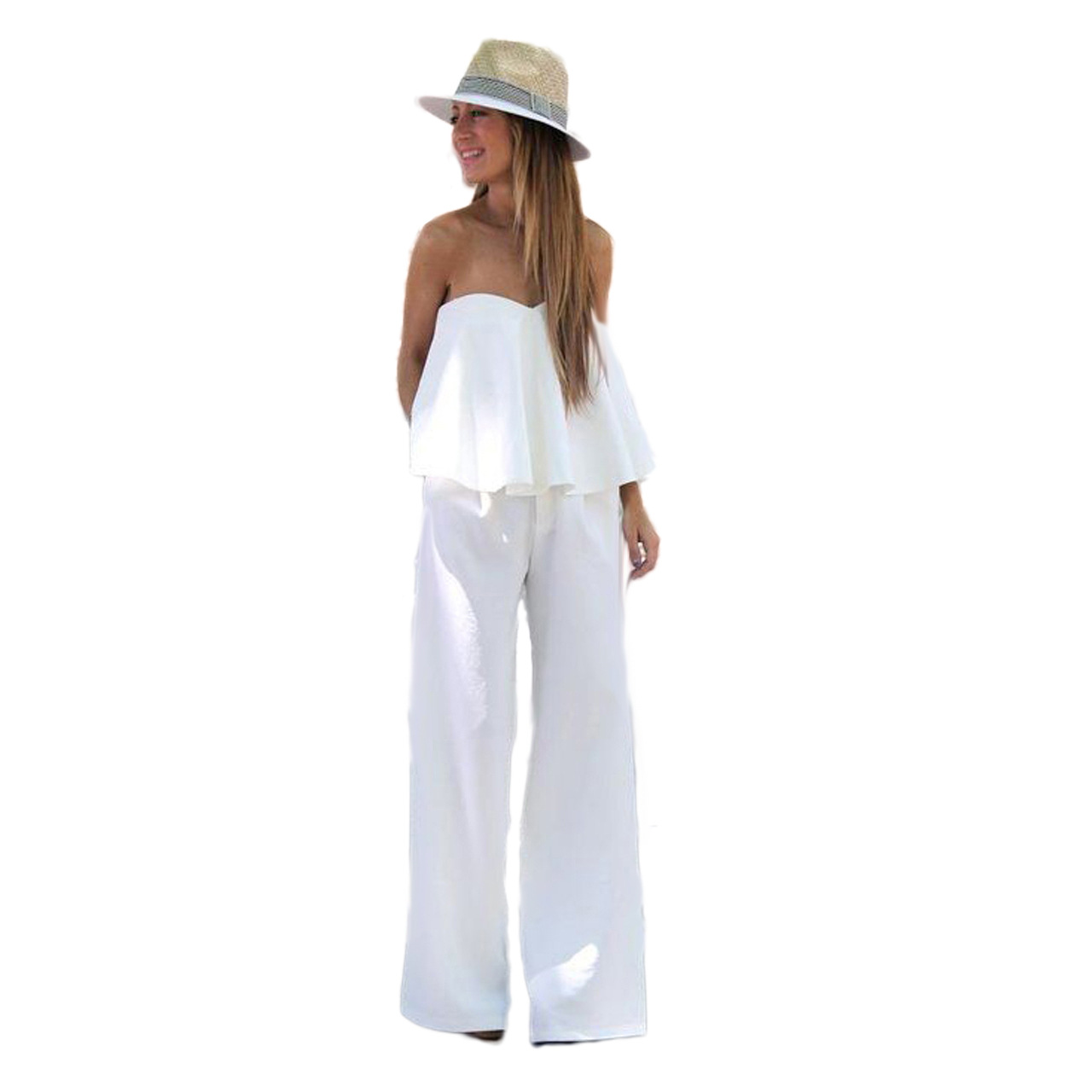 b35e9255757 Solid Strapless Tube Ruffled Wide Leg Flare Jumpsuit 24913-2. Loading zoom