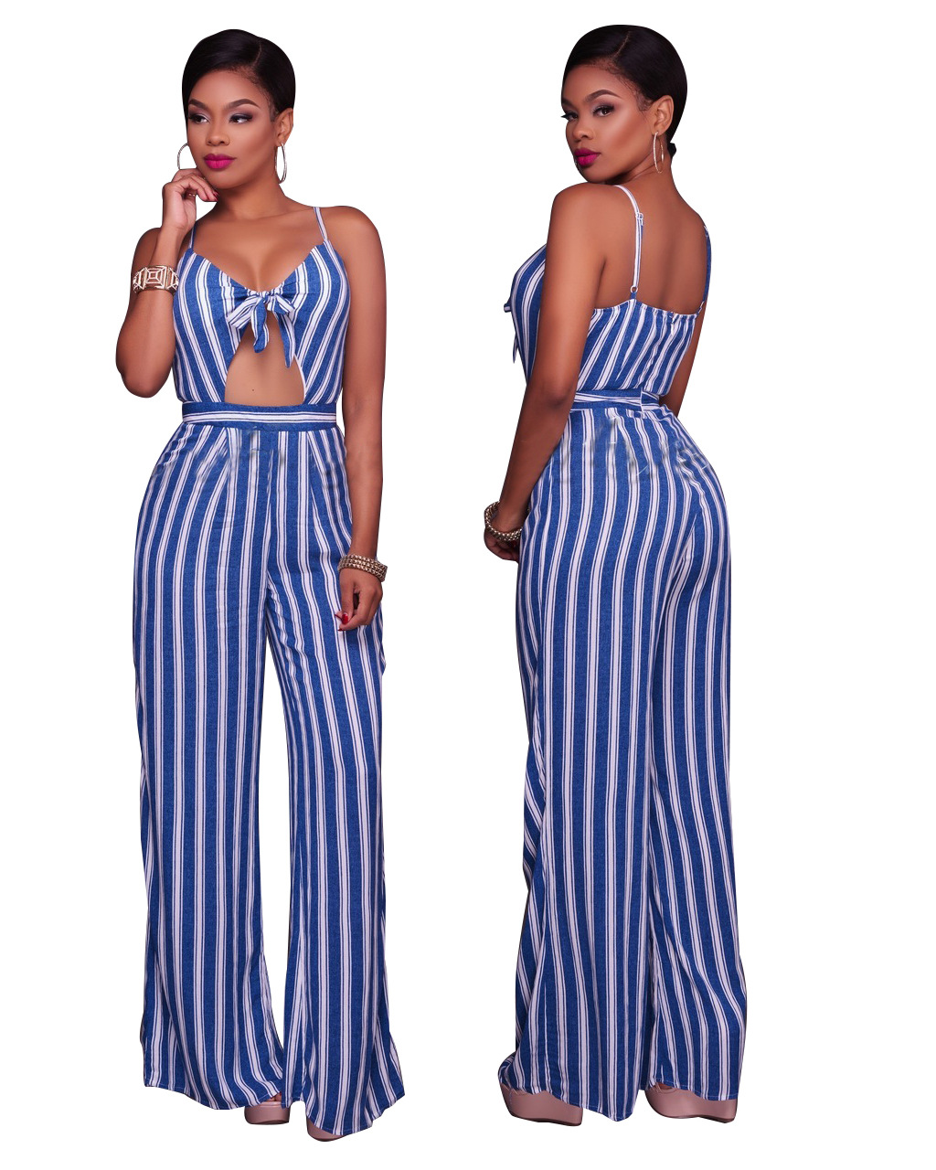 b515e0bf5bcc US$ 8.72 - Front-tied Blue Vertical Stripe Strappy Jumpsuit 25491-1 -  www.global-lover.com