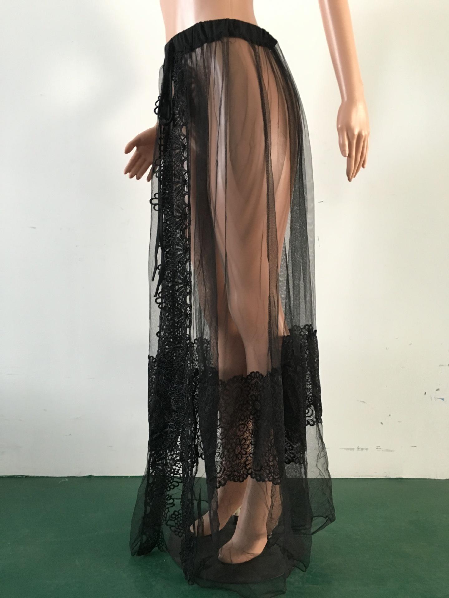 42690e92db US$ 6.4 - Black Sheer Mesh Beach Tied Skirt 25639-1 - www.global-lover.com