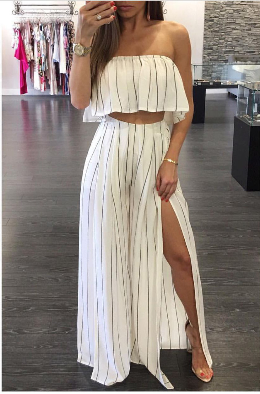 b58f208dfda US  9.4 - Vertical Stripes Ruffle Tube Top and Side Slit Loose Pants 25726  - www.global-lover.com