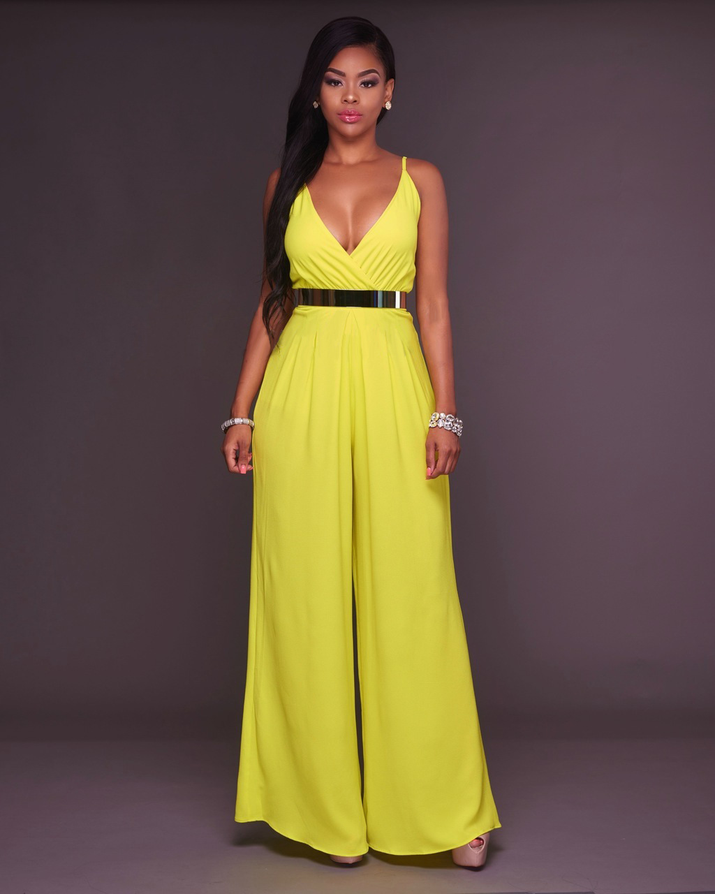 88c3b42e06ed US  7.66 - Light Yellow V-neck High Waist Strappy Loose Jumpsuit 25558-3 -  www.global-lover.com
