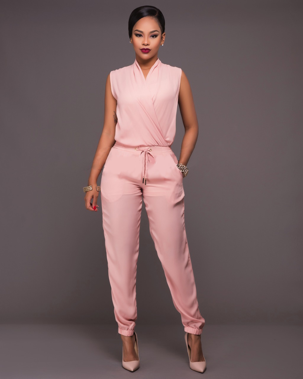 best selling huge discount shop for official Pale Pink Wrap Sleeveless Drawstring Waist Jumpsuit 25697-2