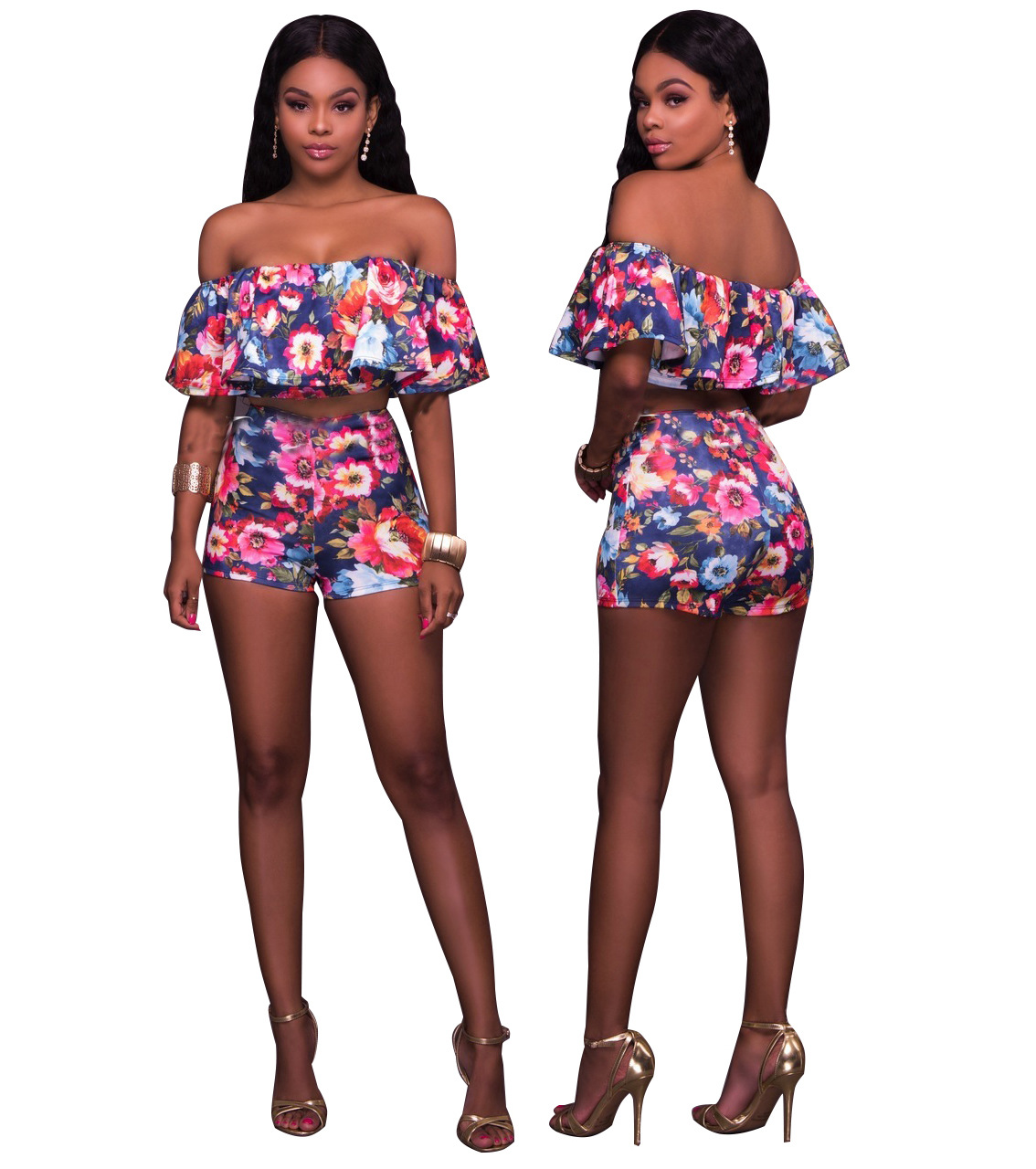 886f23fb17c US  9 - Sexy Flower Strapless Crop Top and Shorts 26529 -  www.global-lover.com
