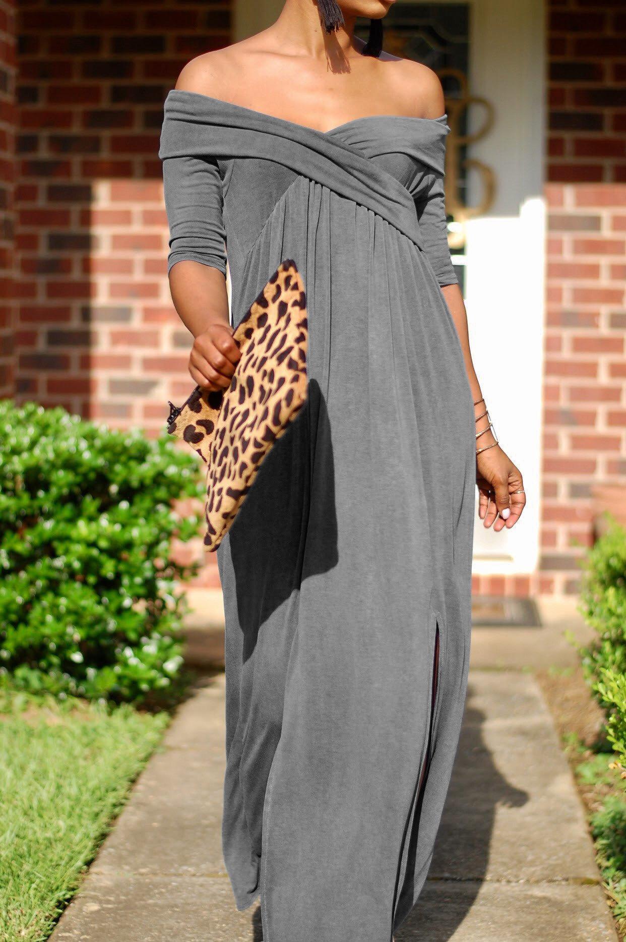 727d3db139 US$ 7.5 - Open Shoulder Sexy Twist Chest Plain Maxi Dress 26900-1 -  www.global-lover.com