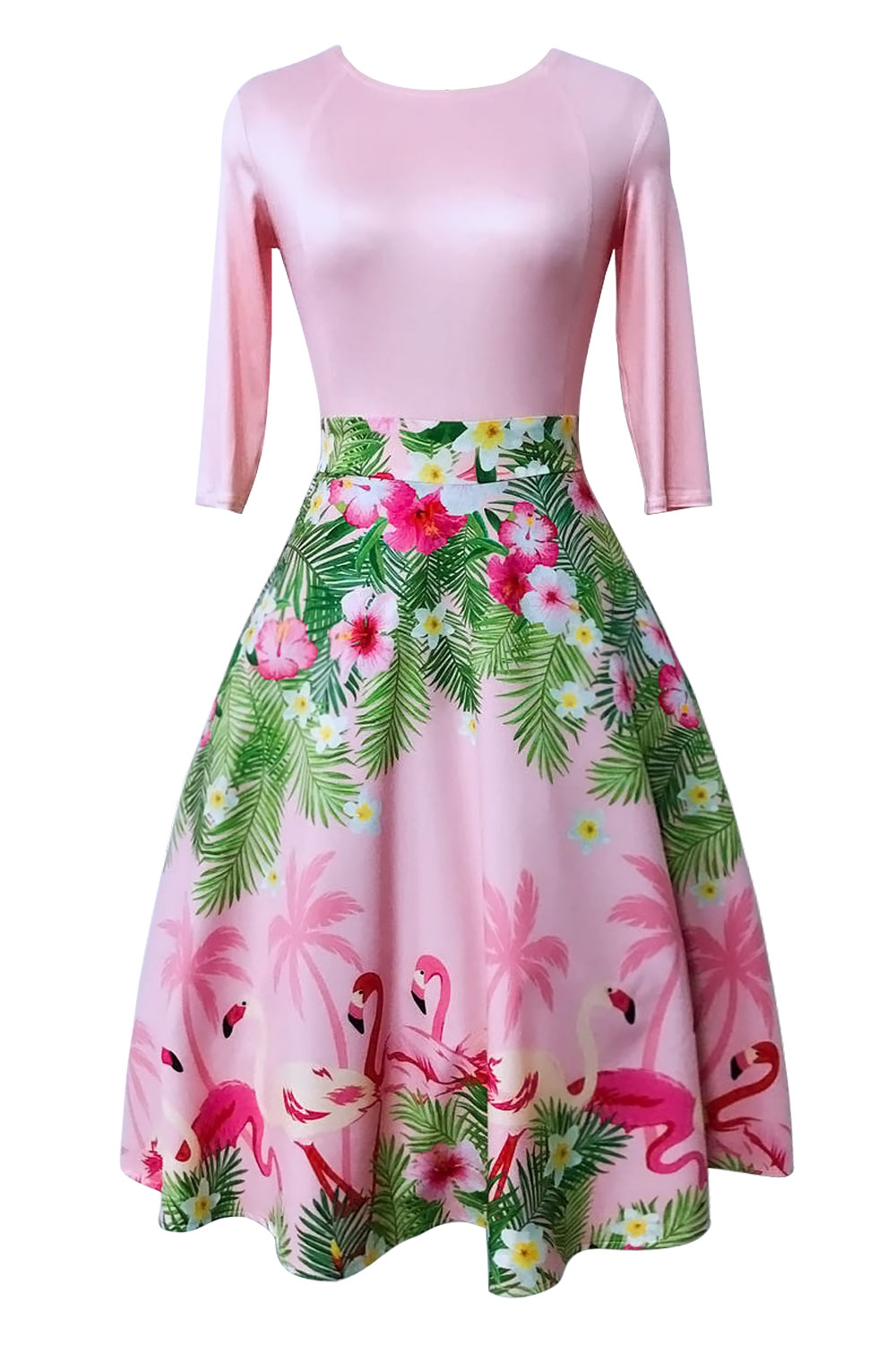 472a3ac4557d US  12.4 - Flower Print Pink Long Skater Dress with Mid Sleeves 26864 -  www.global-lover.com