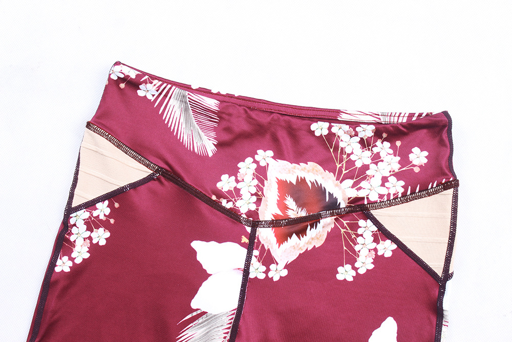4899817463fc53 US$ 7.1 - Floral Red Fitness High Waist Leggings 26994 - www.global -lover.com