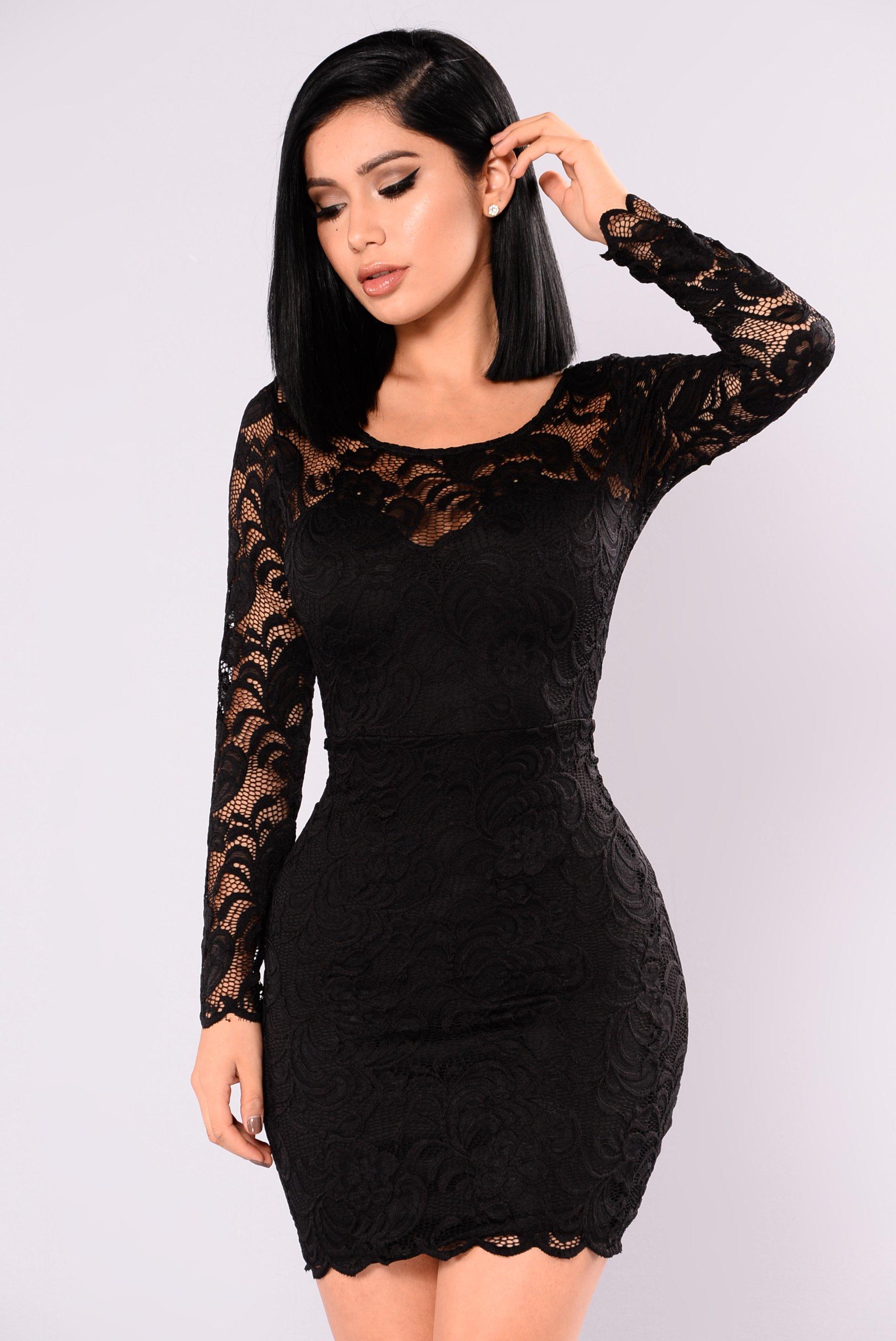 US$ 7.5 - Black Lace Mini Dress 27233-1 - www.global-lover.com