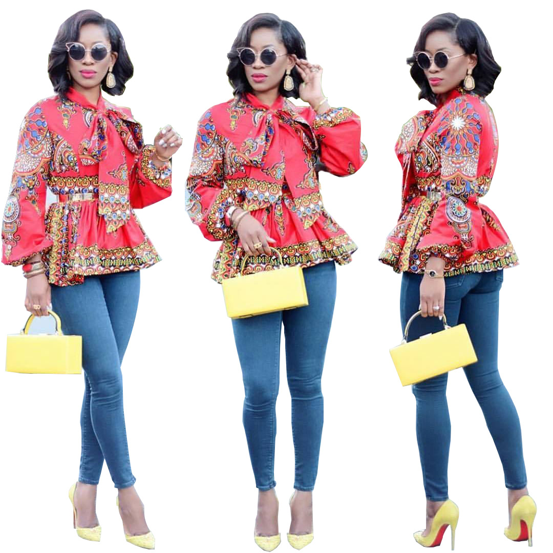 171601f3343 US  7.5 - African Dashiki Red Peplum Tops 27216 - www.global-lover.com