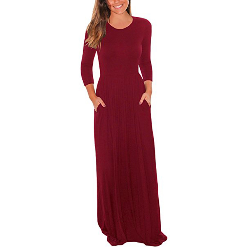 6de603939f69 US$ 7.05 - Simple Red Long Dress with Sleeves 27896-2 - www.global-lover.com