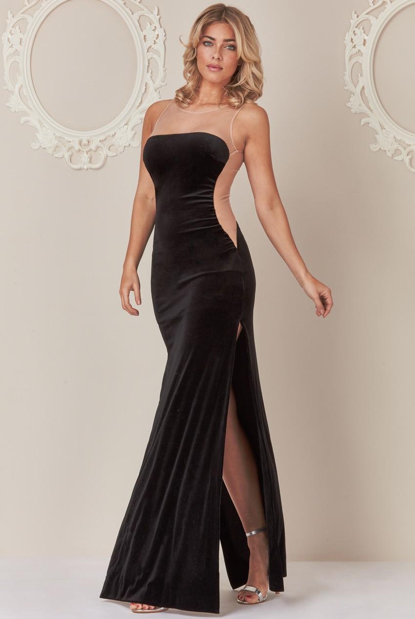 Blocked Long Evening Dress 28212