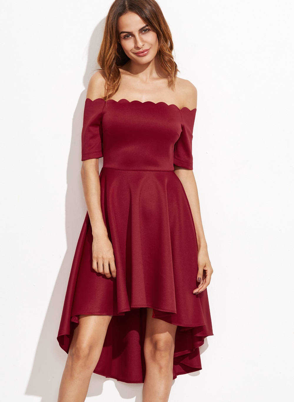 bb7982bdc876 US  8.3 - Off Shoulder High Low Skater Dress - www.global-lover.com