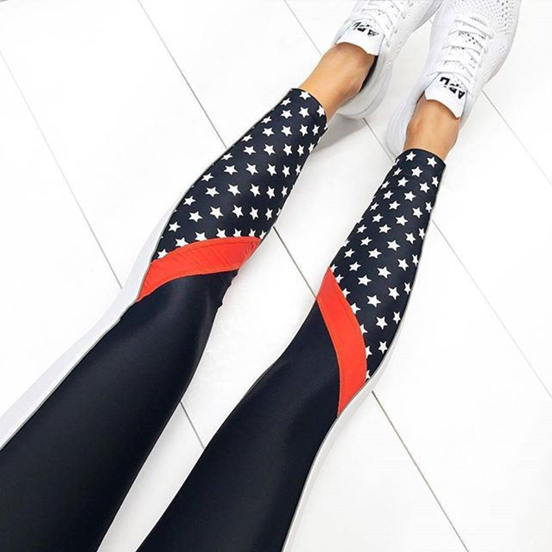 371a7b46ef57e4 US$ 7.03 - Stars Print Contrast Fitness Yoga Pants - www.global-lover.com
