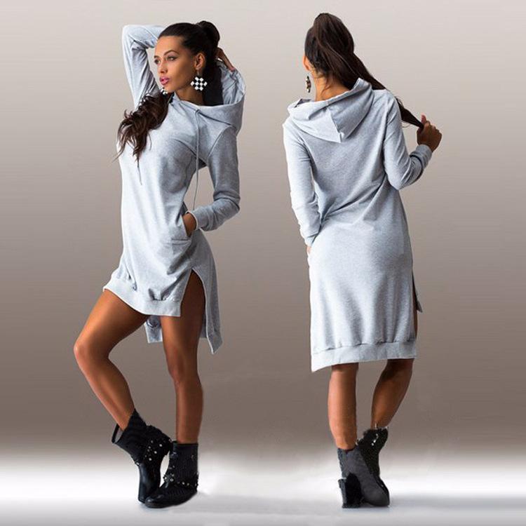 47d705f11ec US  5.2 - Blank High-Low Hoodies Dress 17987 - www.global-lover.com