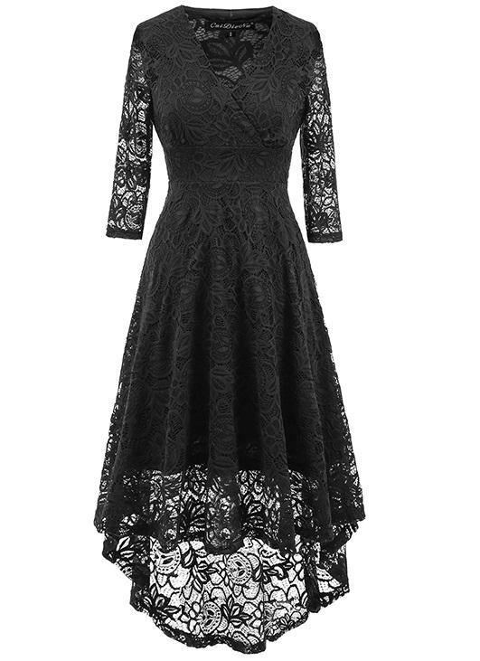 f8b564bd2e69e US$ 12.99 - Long Sleeve Lace High Low Wrapped Skater Dress - www ...