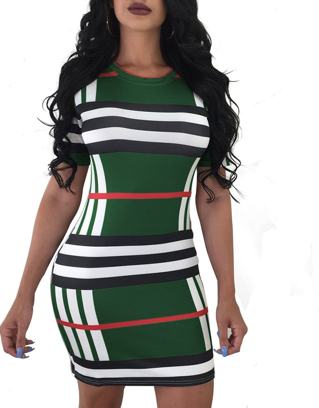 0cfbb2398ec US  4.68 - Block Color Strippes Bodycon Dress - www.global-lover.com