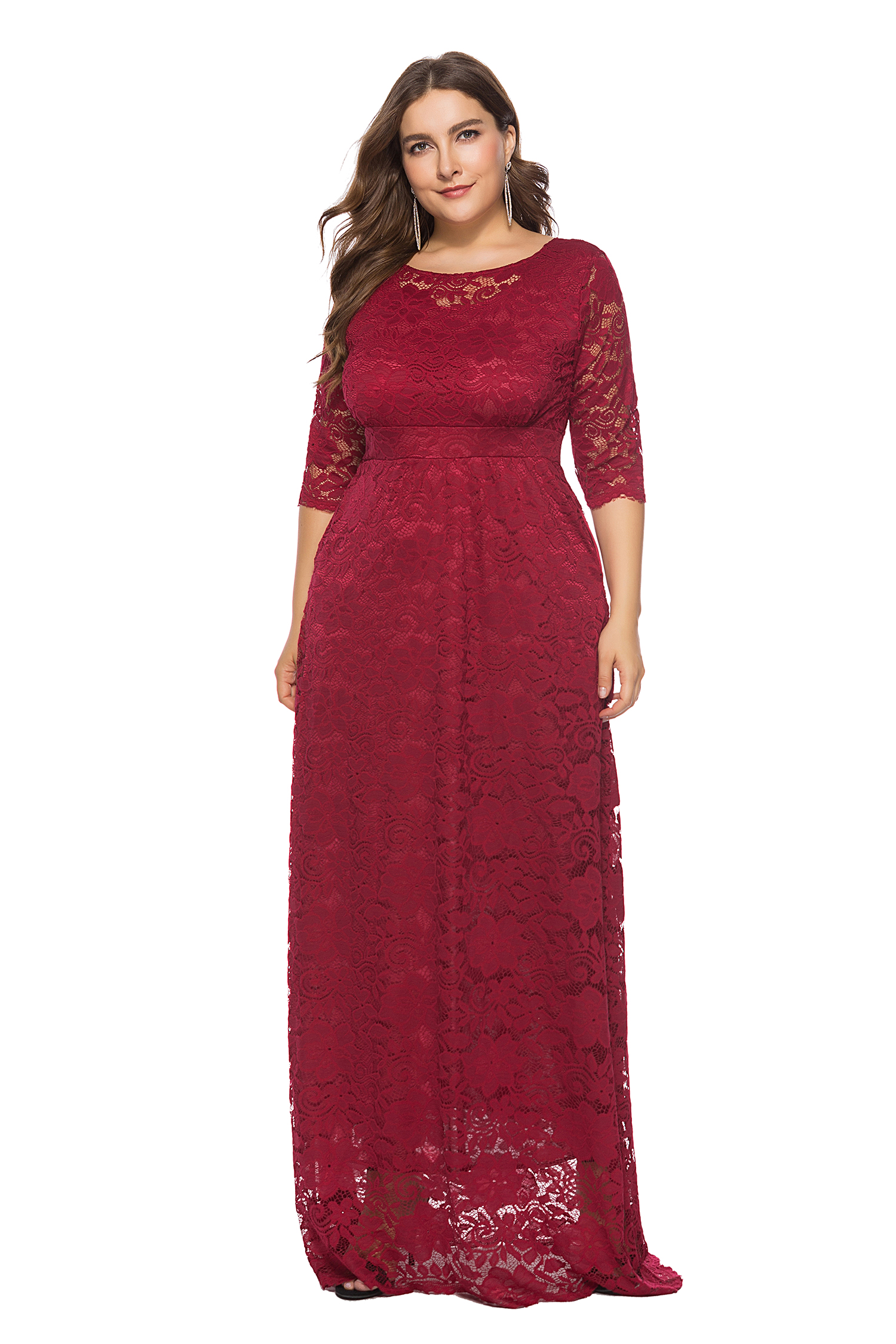 64910ed9c7 US$ 17.25 - Plus Size Full Lace Maxi Dress with 3/4 Sleeves -  www.global-lover.com