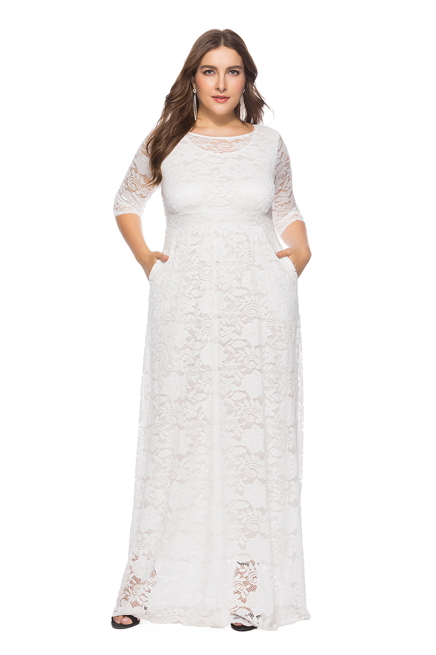 99714ff958c US  17.25 - Plus Size Full Lace Maxi Dress with 3 4 Sleeves -  www.global-lover.com