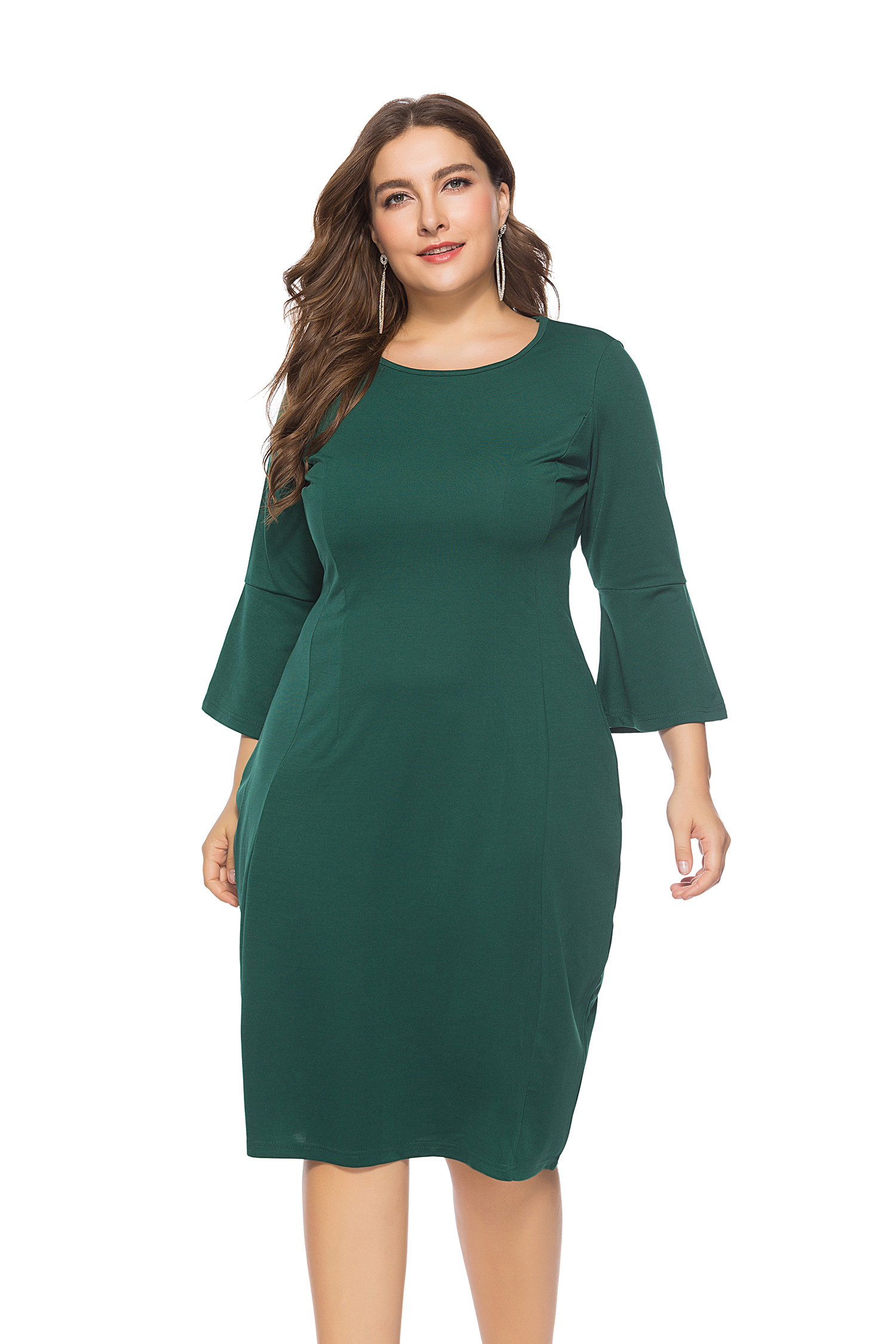 Plus Size Mature Women Dress with 3/4 Sleeves
