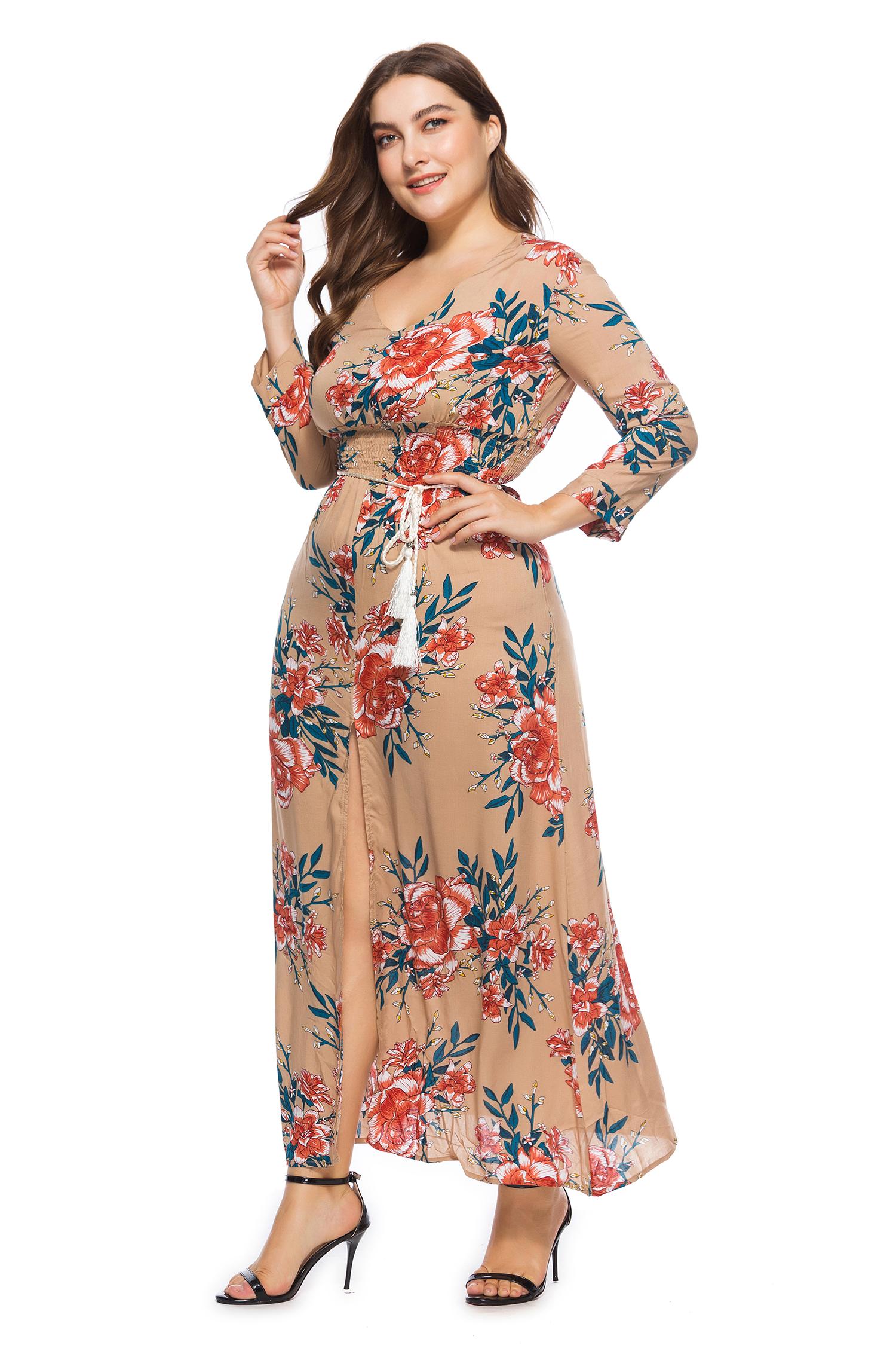 Plus Size Long Sleeve Floral Maxi Dress