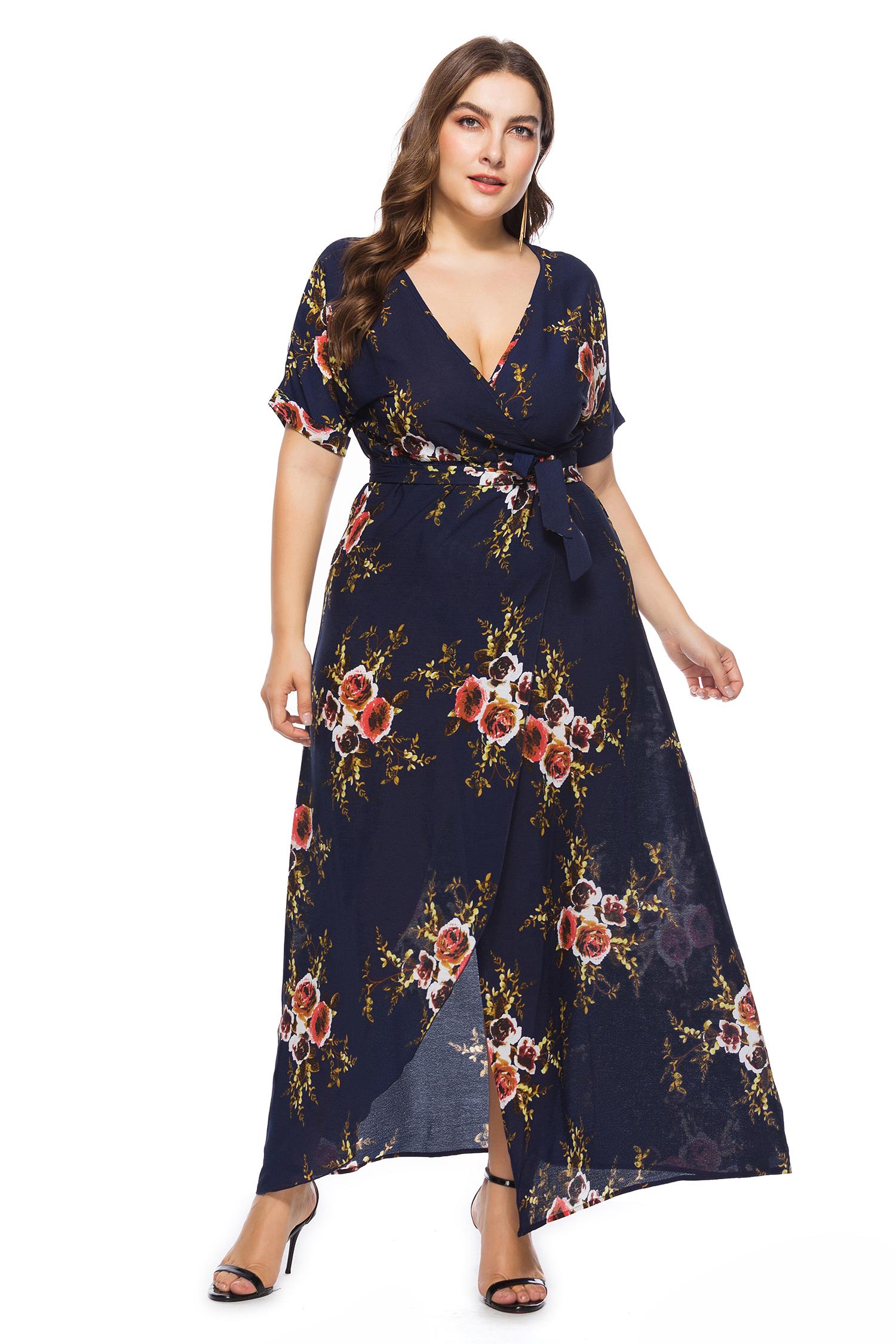 b67272dc04 US$ 12.35 - Plus Size Short Sleeve Floral Wrap Maxi Dress -  www.global-lover.com