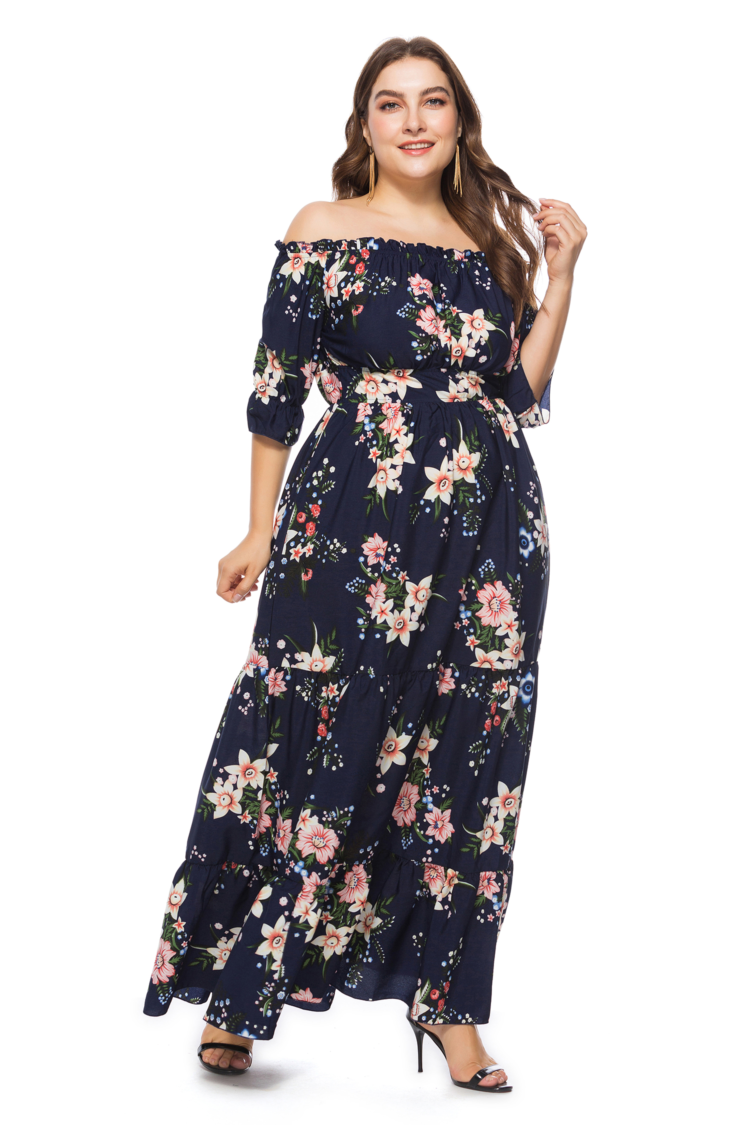 US$ 13.41 - Plus Size Off Shoulder Floral Maxi Dress - www.global ...