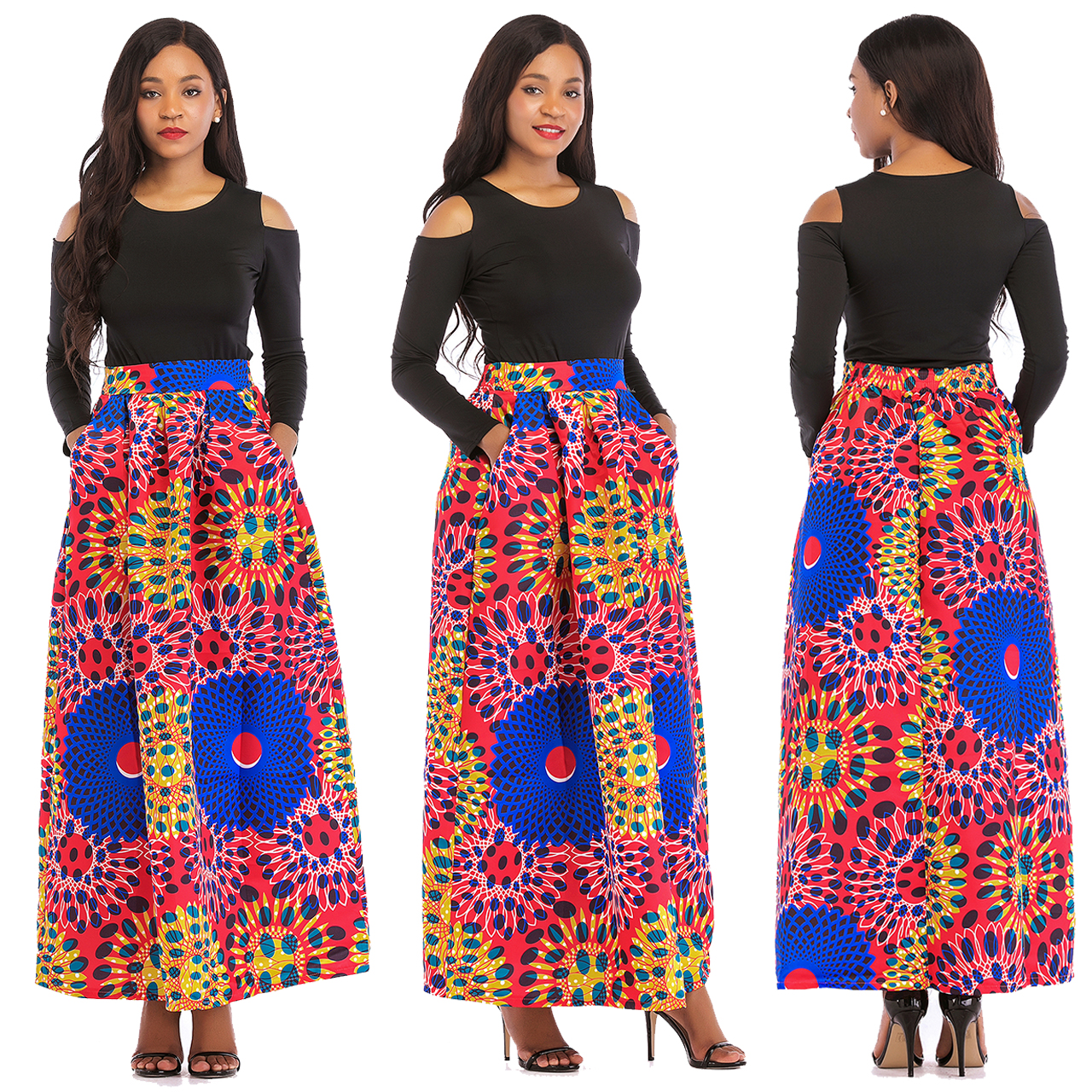 192d6df67b US$ 10.86 - Long Sleeve Black Top and African Print Maxi Skirt - www.global -lover.com