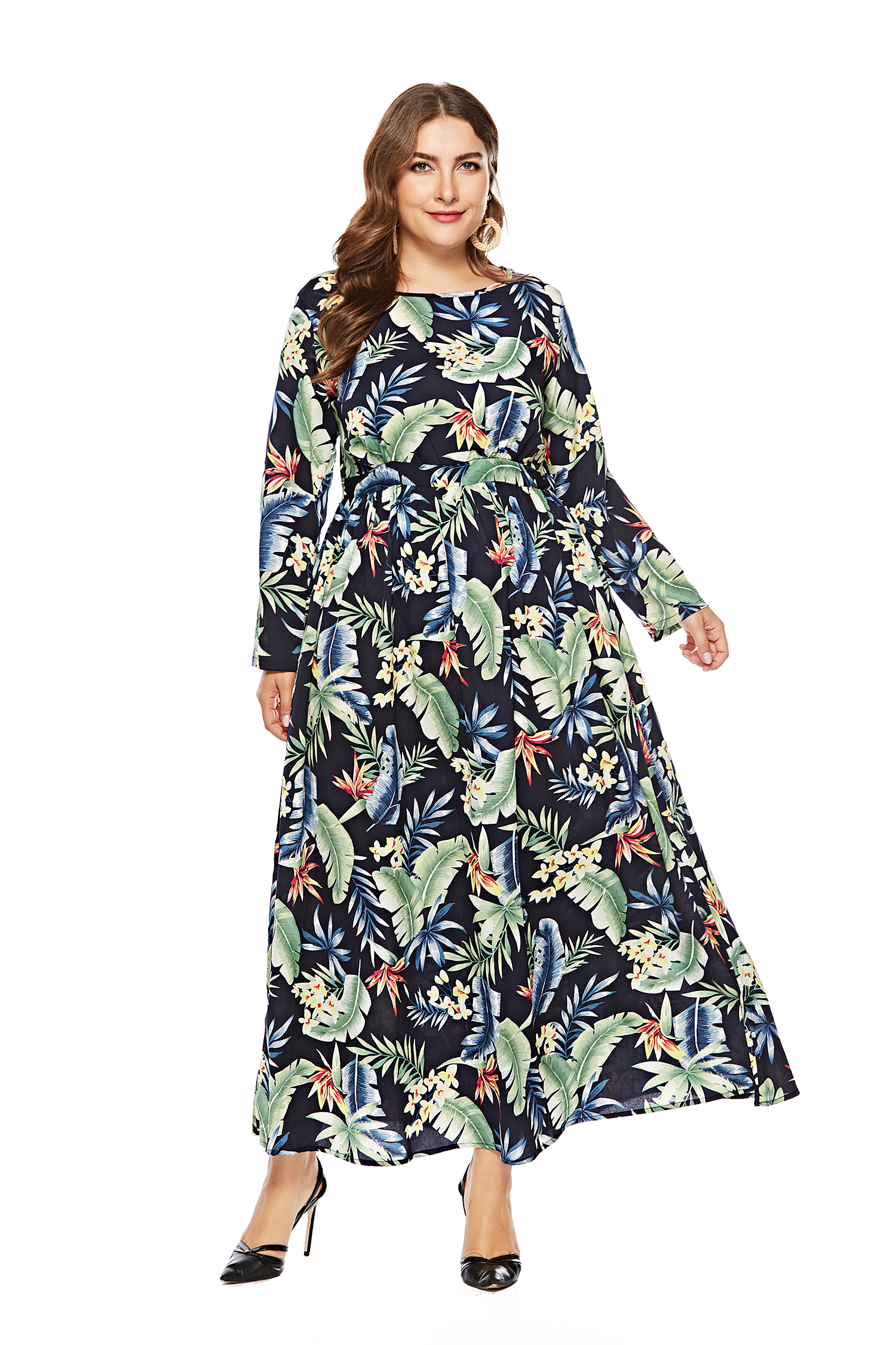 US$ 13.99 - Plus Size Long Sleeve Floral Maxi Dress - www.global ...