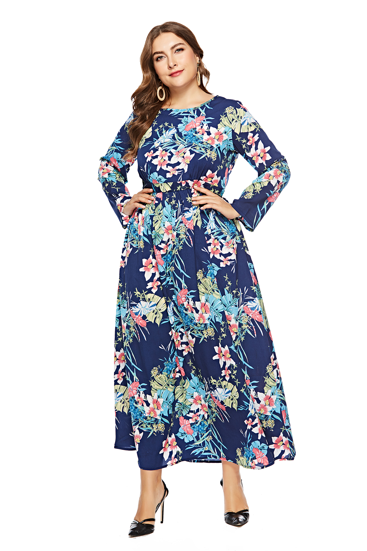 5a0663e3707 US  13.99 - Plus Size Long Sleeve Floral Maxi Dress - www.global ...