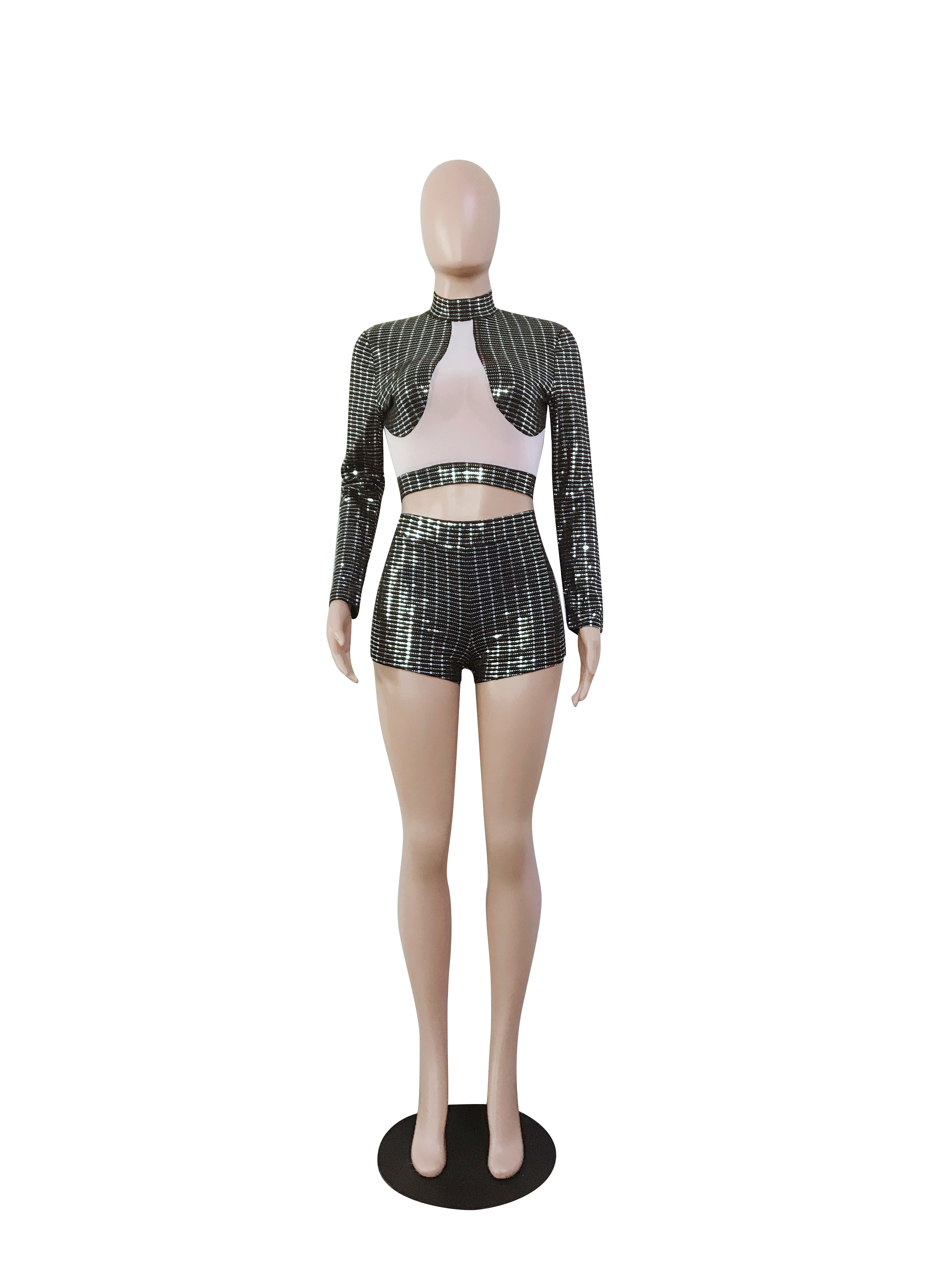 672811f8484fb US  10.86 - Sexy Shiny Crop Top and Shorts - www.global-lover.com